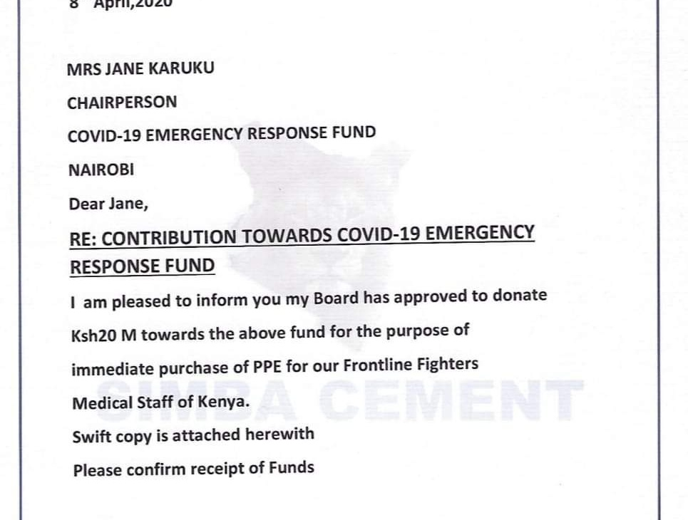 National Cement Company donates KSh 20M to the COVID-19 Emergency Fund