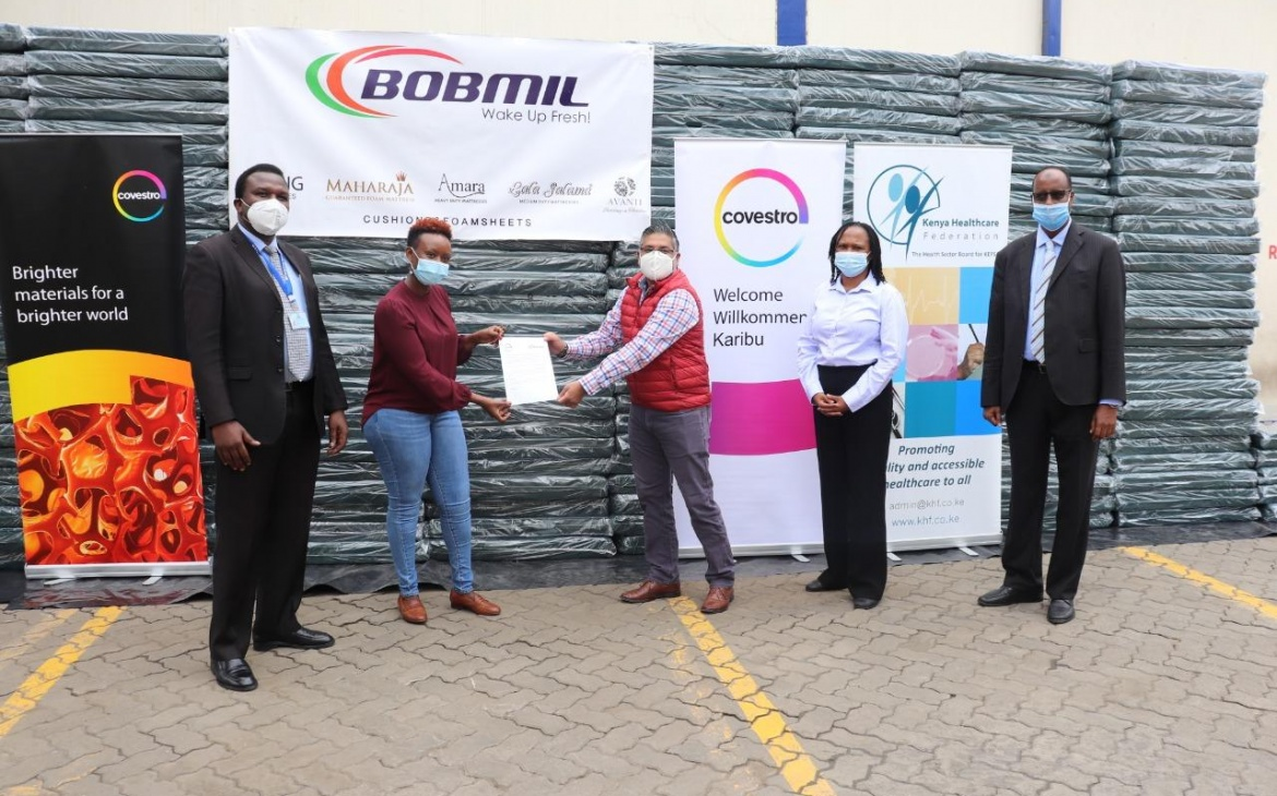 Kenya Health Federation Recieves 230 Hospital Matresses from Covestro and Bobmil Industries LTD