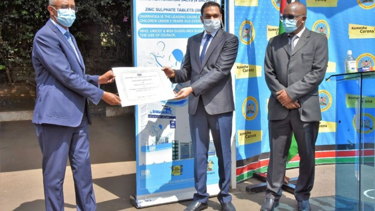 Ministry of Health Receives Hand Sanitizers and Medicine Worth 1 Million from Laboratory and Allied Limited